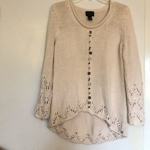 Anthropologie Pure Handknit Sweater pullover  M/L